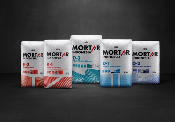 Mortar Indonesia comprises 5 product variants, namely Mortar Indonesia Thin Bed Adhesive (D-1), Mortar Indonesia Plaster & Brick Adhesive (D-2), Mortar Indonesia Concrete Skim Coat (D-3), Mortar Indonesia Ceramic Tile Adhesive (K-1) and Mortar Indonesia Granite Tile Adhesive (K-2).