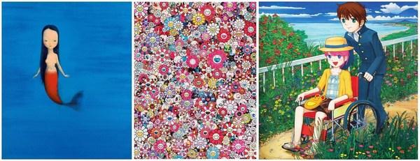 Hi-Lite: left: Liu Ye (b. 1964) - Little mermaid (2004); center: Takashi Murakami (b. 1962) - Dazzling Circus (2013); right: Mr. (b. 1969) - Don't go anywhere (2006)