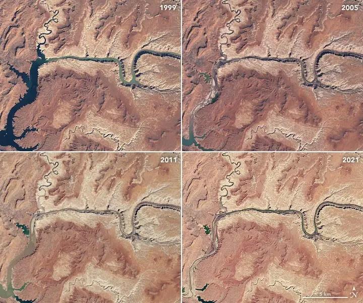 Lake Powell 1999 2005 2011 2021