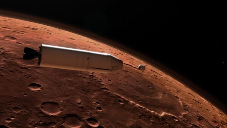 Mars Ascent Vehicle Deploying Sample Container in Orbit