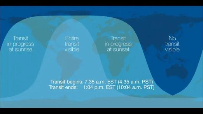 Mercury Transit Visibility Map
