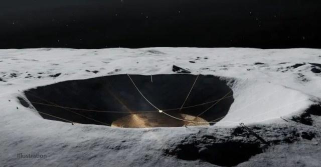 Radio Telescope Moon Crater