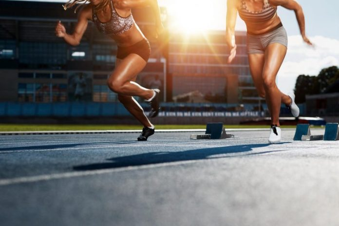 Sprinters Running Race