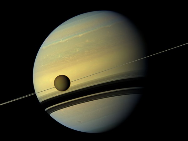 Natural Color View Of Saturn And Titan