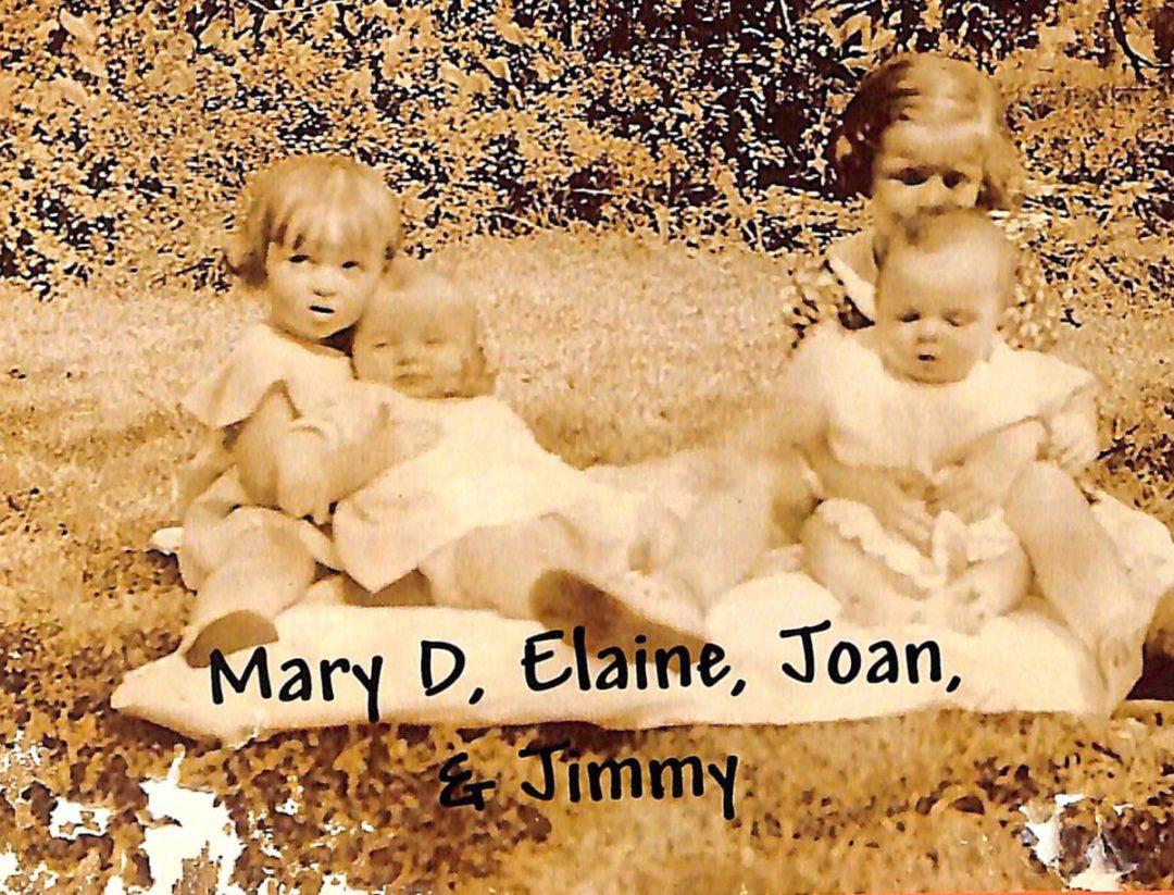 The McCarron children, left, Elaine holding Jimmy, right, Mary Dolores holding Joan