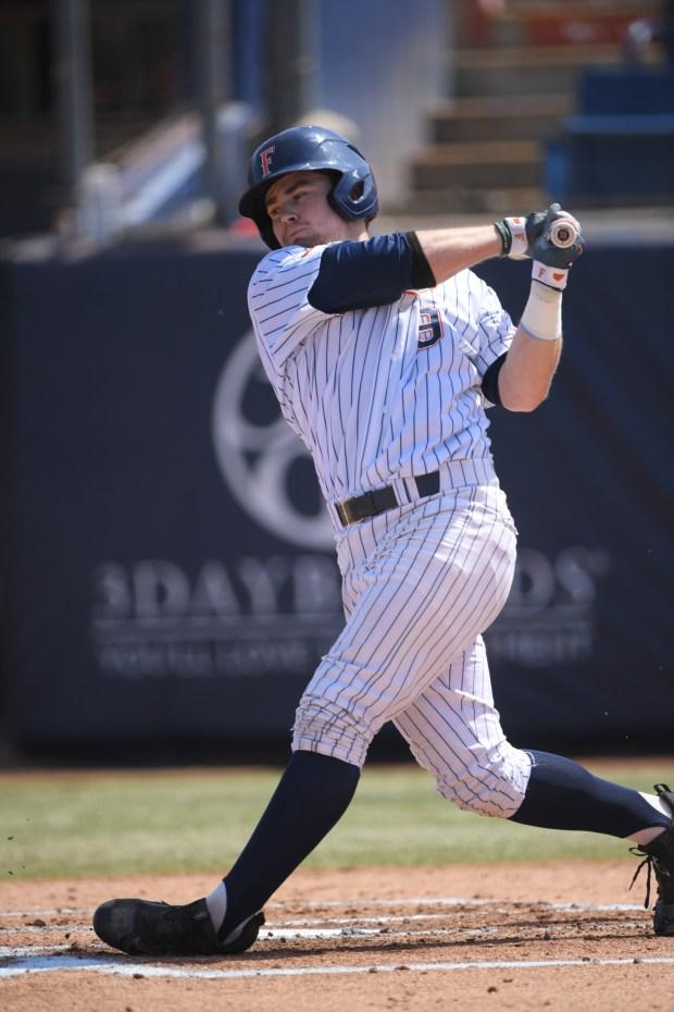 Dillon Persinger is a first baseman for Cal State Fullerton. (Photo courtesy Matt Brown)