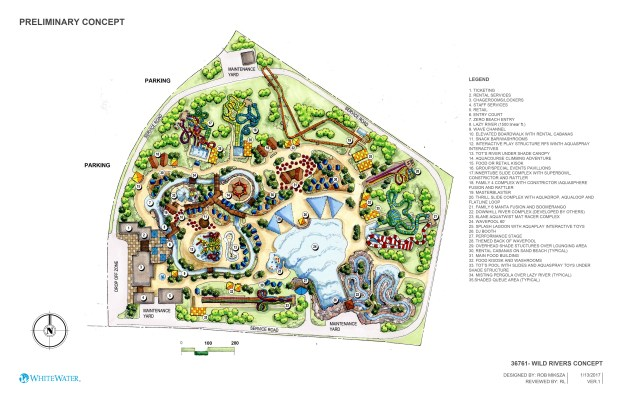 A preliminary concept of Wild Rivers' proposed 30-acre water park at the Orange County Great Park in Irvine. (Courtesy of Wild Rivers)