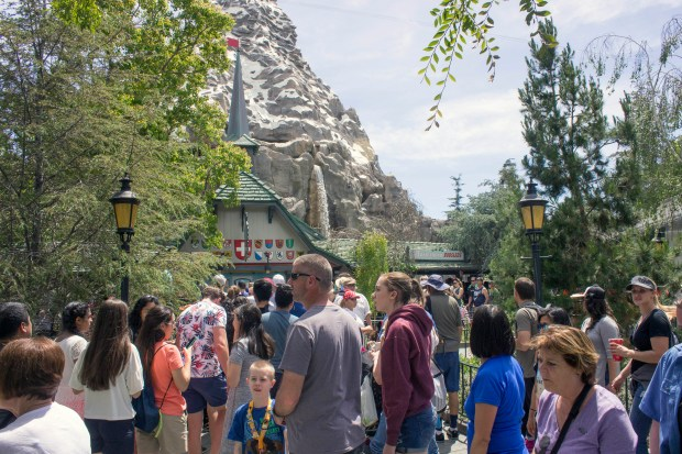 The Matterhorn Bobsleds opened up after a long refurbishment on Wednesday, April 26, 2017, and was immediately inundated with a stand by line that was nearly 60 minutes line. But riders found they could now get a Fastpass for the classic Disneyland attraction. (Photo by Mark Eades, Orange County Register/SCNG)