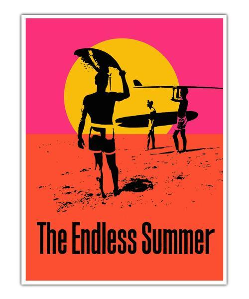 """ICONIC: John Van Hamersveld's poster for the 1966 movie, """"The Endless Summer,"""" may be his most famous work. It combines Day Glo colors with minimalism and a hard-edge sensibility."""