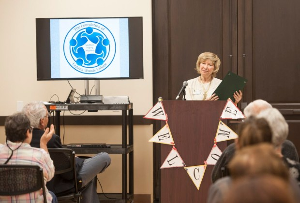 Laguna Woods Mayor Shari Horne presents a commendation to The Foundation of Laguna Woods Village during the 20th anniversary of the organization at Clubhouse Two in Laguna Woods on Thursday, April 27, 2017. (Photo by Kyusung Gong/Orange County Register/SCNG)