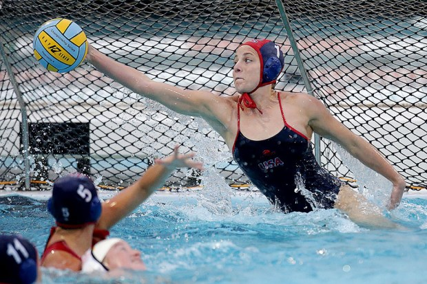 King goalie Hannah McCarley makes the save against La Canada during the non league water polo game in Riverside, CA. Friday, Feb. 10, 2017. TERRY PIERSON,THE PRESS-ENTERPRISE/SCNG