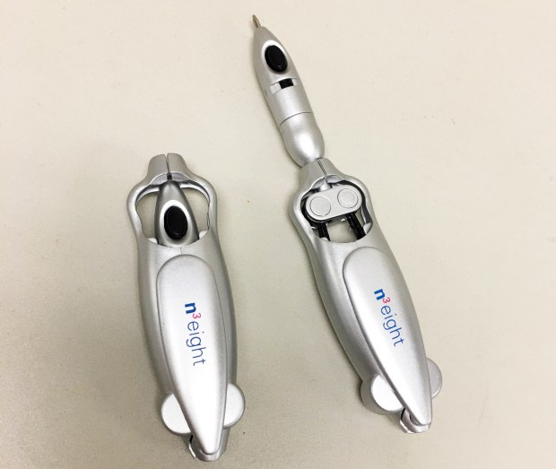Loma Linda University Health celebrated the opening of its start-up incubator n3eight by handing out futuristics pens. The one on the left is closed; the one on the right is open.