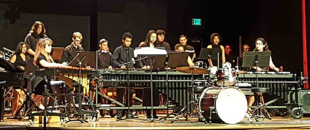 Banning High's new percussion ensemble performed for the first time April 11. The concert – which spanned genres – was made possible after the Banning High band purchased new percussion instruments using state funds and a grant from the Mr. Holland's Opus Foundation. Courtesy of Matt Valdivia