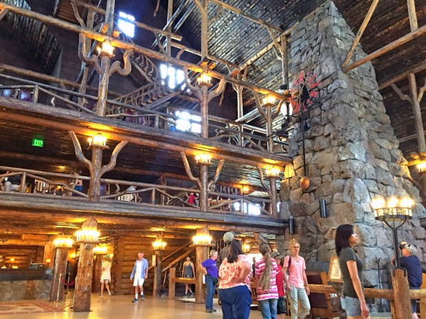 The interior of the Old Faithful Inn at Yellowstone National Park, which served as inspiration for the Wilderness Lodge at Walt Disney World.//// ADDITIONAL INFORMATION: The inspiration for many Disney theme park hotels and rides come from towns and parks across the nation - Date of photo: 06/09/16 - disney.nilescolumn.0612 -- Photo by: COURTESY, ROBERT NILES