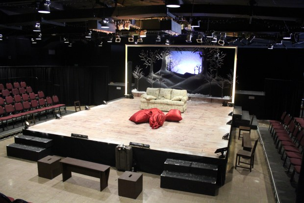 The theater department at Whittier Christian High School transforms the school's cafeteria into a performance space, building a stage from the ground up. (Photos courtesy of Whittier Christian)