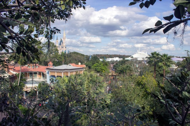 The view towards the east of the Magic Kingdom in Walt Disney World. The photo is taken from the upper level of the Swiss Family Treehouse in Adventureland at the theme park. (Photo by Mark Eades, Orange County Register/SCNG)