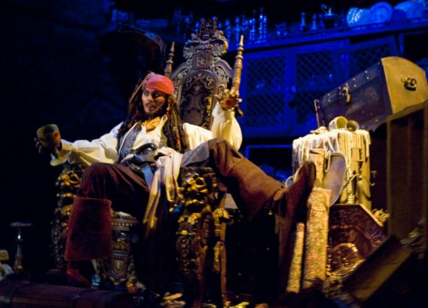 A Jack Sparrow figure enjoys some stolen wares inside Pirates of the Caribbean ride at Disneyland in Anaheim Monday. (File photo by: Joshua Sudock, Orange County Register/SCNG)