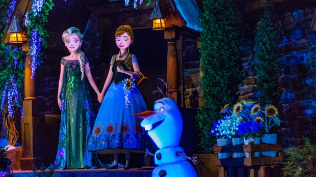 """Anna and Elsa and Olaf, characters from the Disney animated movie """"Frozen,"""" as they appear in the attraction based on the movie in the Norway Pavilion at Walt Disney World's Epcot. (Photo courtesy: The Walt Disney World Resort)"""