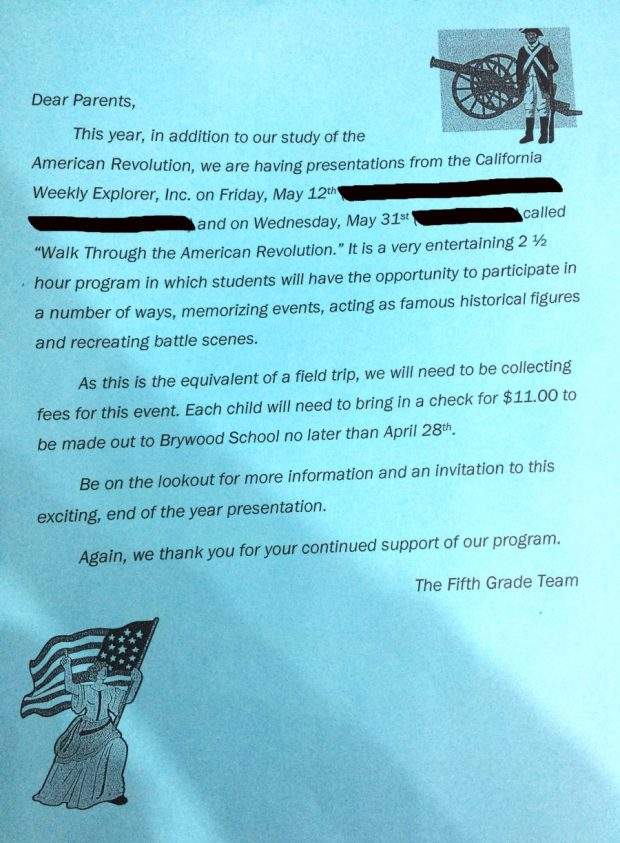 Flyer sent to Brywood Elementary fifth-graders