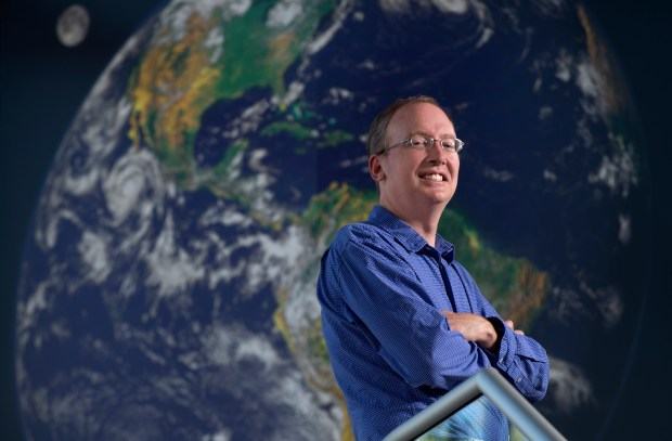 UCI Earth system scientist James Randerson, a new member of the National Academy of Sciences, uses satellite data and climate models to predict change in the planet's various ecosystems. (Photo by Steve Zylius)