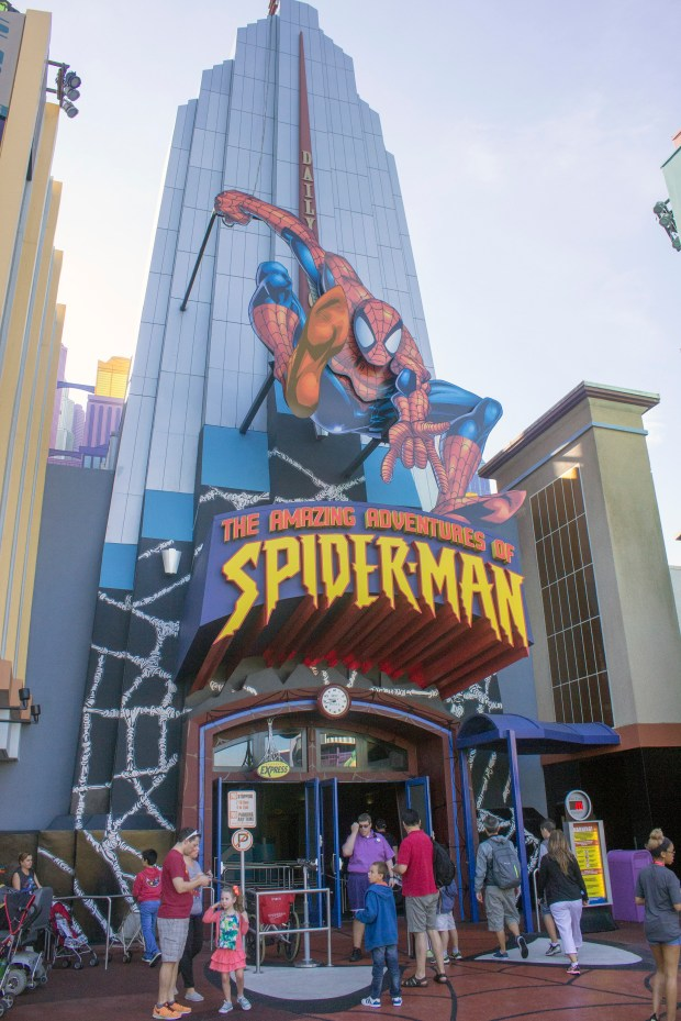The Amazing Adventures of Spider-Man at Universal's Islands of Adventure theme park in Orlando, Florida. It uses 4K projection technology and 3D to immerse riders in a battle between Spider-Man and the villains in his comic book world. (Photo by Mark Eades, Orange County Register/SCNG)