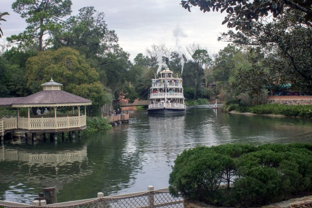 The Liberty Belle floats on the Rivers of America around Tom Sawyer Island near the waterfront of Frontierland in the Magic Kingdom of Walt Disney World. (Photo by Mark Eades, Orange County Register/SCNG)