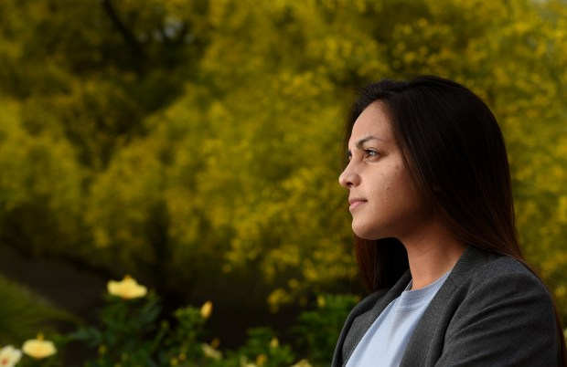 Laila Dadabhoy was elected student body president for Cal State Fullerton for next year. She paused for a portrait on the CSUF campus in Fullerton, CA on Wednesday, May 10, 2017. (Photo by Bill Alkofer,Orange County Register/SCNG)