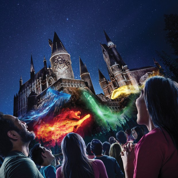 "Concept art depicting ""The Nighttime Lights at Hogwarts Castle"" that will project on the castle and around ""The Wizarding World of Harry Potter"" area at Universal Studios Hollywood beginning Friday, June 23, at the theme park. (Photo courtesy: Universal Studios Hollywood)"
