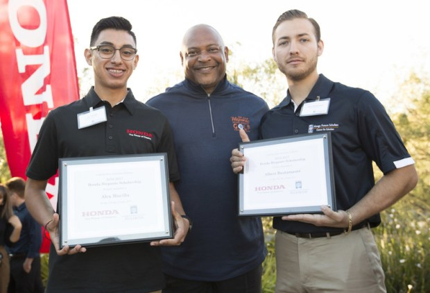 As part of the Abrego Future Scholars Program, Cal State Fullerton students Alejandro Murillo, left, and Albert Bustamante were recognized as this year's Honda Scholars. (Photo courtesy of PRNewsfoto/Honda)