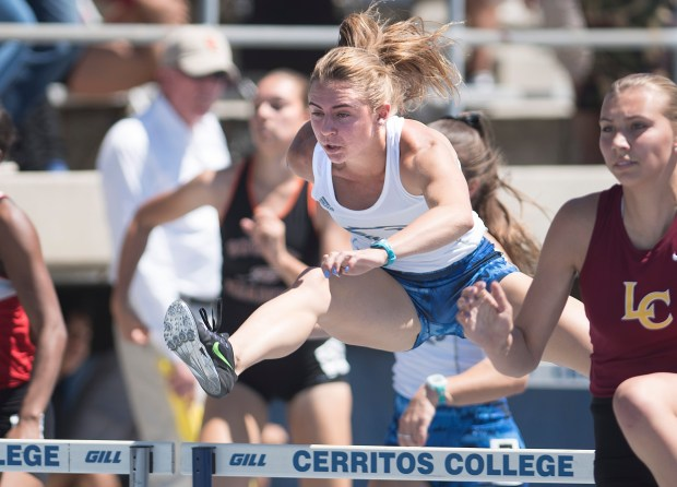Santa Margarita's Nikki Merritt competes in the division three 100 meter hurdles during the CIF-SS Track Championships at Cerritos College in Norwalk, on Saturday, May 20, 2017. (Photo by Nick Agro, Orange County Register/SCNG)