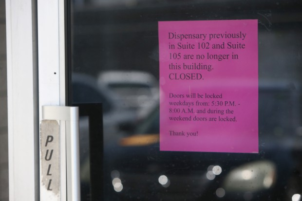 A note is posted informing customers that G6, a marijuana dispensary, is no longer in the business complex in Riverside on Tuesday, May 23, 2017. (Stan Lim, The Press-Enterprise/SCNG)