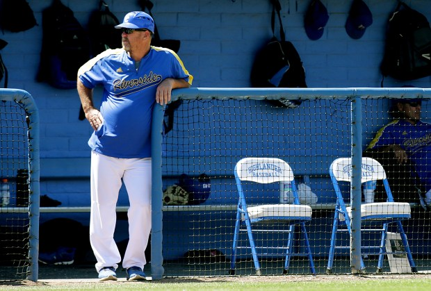 UCR baseball manager Troy Percival watches the action from the dugout against UC Irvine during a Big West league game in Riverside, CA. Sunday, May 21, 2017. TERRY PIERSON,THE PRESS-ENTERPRISE/SCNG