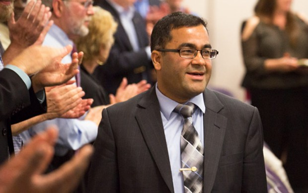 Binod Tiwari receives a standing ovation from colleagues at the May 11 Academic Senate meeting on his selection as the recipient of the 2017 Outstanding Professor Award. (Photo courtesy of Cal State Fullerton)