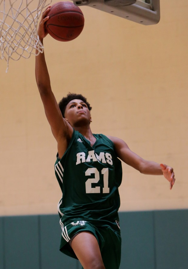 Murrieta Mesa's basketball player Lamar Wright drives to the basket during their summer basketball practice at Murrieta Mesa High School in Murrieta Wednesday, May 24, 2017. FRANK BELLINO, THE PRESS-ENTERPRISE/SCNG