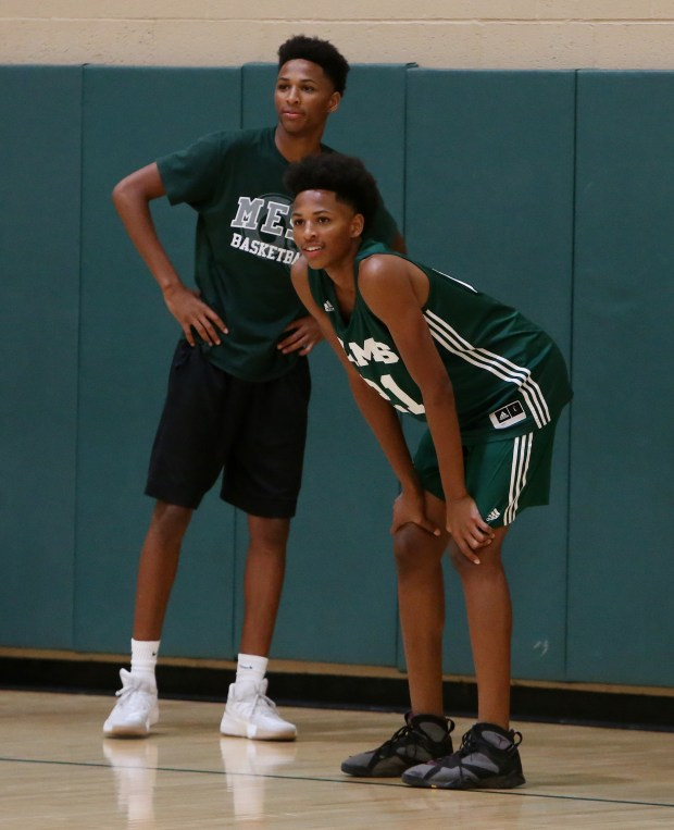 Murrieta Mesa's basketball player Shamar and Lamar Wright during their summer basketball practice at Murrieta Mesa High School in Murrieta Wednesday, May 24, 2017. FRANK BELLINO, THE PRESS-ENTERPRISE/SCNG