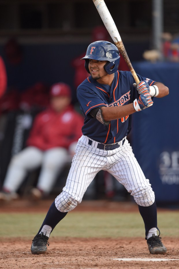 Sahid Valenzuela is one of the top contributors for Titans baseball this season (Photo courtesy of Matt Brown/Cal State Fullerton)