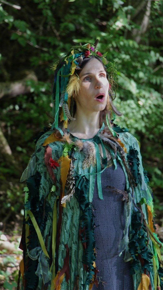 """Soprano Laurie Rubin (The Voice/Witch) in episode 8 of """"Vireo,"""" shot at the Garrison Institute in Garrison, New York. (Photo courtesy of Mike O'Toole)"""