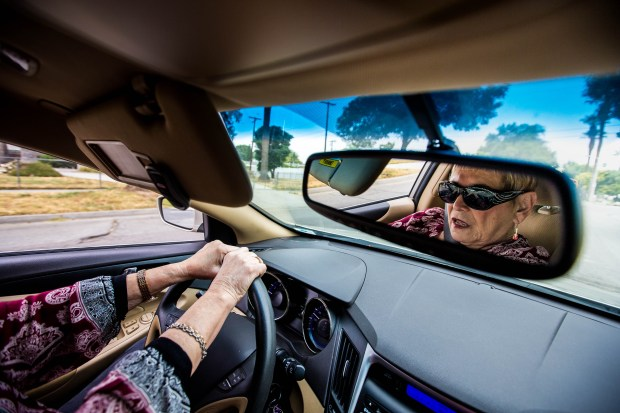 Sandy Tarmo, 71, drives to meet with her friends for lunch at Riverside Airport in Riverside on Wednesday, May 31, 2017. (Photo by Watchara Phomicinda, The Press-Enterprise/SCNG)