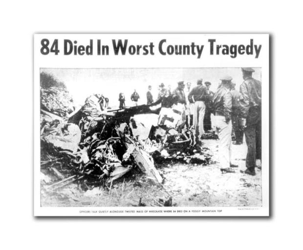 This staff file photo ran in the June 26, 1965 morning edition of The Register. It was scanned from microfish on June 24, 2015.ORIGINAL CAPTION: Officers talk quietly alongside twisted mass of wreckage where 84 died on a foggy mountain top. PHOTOGRAPHER: Clay Miller, Staff Photographer /// ADDITIONAL INFO: An Air Force C135-A Strato Lifter crashed in the Santa Ana Mountains after takeoff from Marine Corps Air Station El Toro on June 25, 1965. The crash was dubbed and has remained the deadliest crash in Orange County History. SLUG: i.0623.eltorocrash