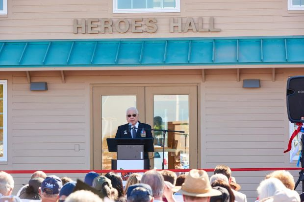 Vincent Okamoto addresses the crowd at the Heroes Hall veterans museum at the OC Fairgrounds.