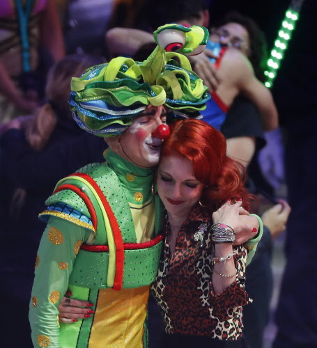 Two performers hug after the final show of the Ringling Bros. and Barnum & Bailey Circus, Sunday, May 21, 2017, in Uniondale, N.Y. (AP Photo/Julie Jacobson) ORG XMIT: NYJJ120