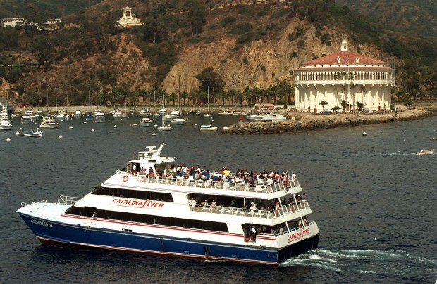 Flyer.xx 7/15/97 jah- The Catalina Flyer sails into Avalon Harbor on its morning run to Catalina. Jebb Harris photo