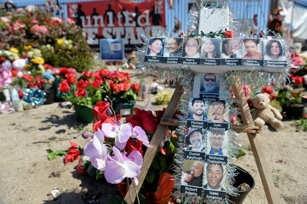 A memorial sits outside the Inland Regional Center in San Bernardino four months following the Dec. 2, 2015 terrorist attack. (File photo by Rick Sforza/The Sun)