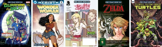"""The five """"must have"""" comic books for this year's Free Comic Book Day; Guardians of the Galaxy, Wonder Woman, Buffy the High School Years, The Legend of Zelda: Twilight Princess and Teenage Mutant Ninja Turtles. (Photos courtesy Free Comic Book Day)"""