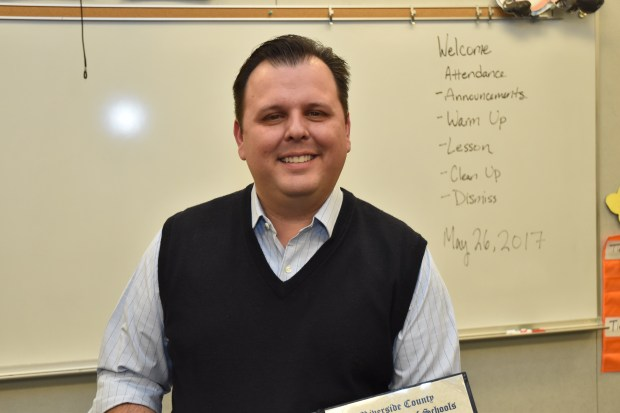 Brian McDaniel, a teacher at Painted Hills Middle School in Palm Springs, was named one of Riverside County's teachers of the year.