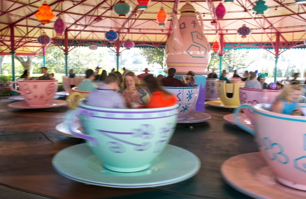 Riders take a spin on the Mad Tea Party, which is under a cover due to Florida's periodic thunderstorms in Fantasyland at the Magic Kingdom of the Walt Disney World Resort. (Photo by Mark Eades, Orange County Register/SCNG)