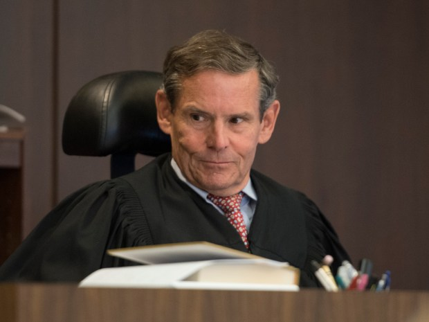 Judge Thomas Goethals listens to testimony by Lt. Lane Lagaret of the Orange County Sheriff's Department during the evidentiary hearing in the Scott Dekraai case in Santa Ana on Thursday, June 8, 2017. (Photo by Sam Gangwer, Orange County Register/SCNG)