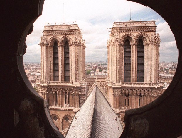 FOR IMMEDIATE RELEASE--The two towers of Notre Dame Cathedral in Paris are pictured from the spire, June 13, 1998. Notre-Dame was started in 1163 and still isn't finished. But that's not unusual with gothic cathedrals, often having either been destroyed by war and then refurbished, or renovated just to eliminate the flaws. (AP Photo/Remy de la Mauviniere)