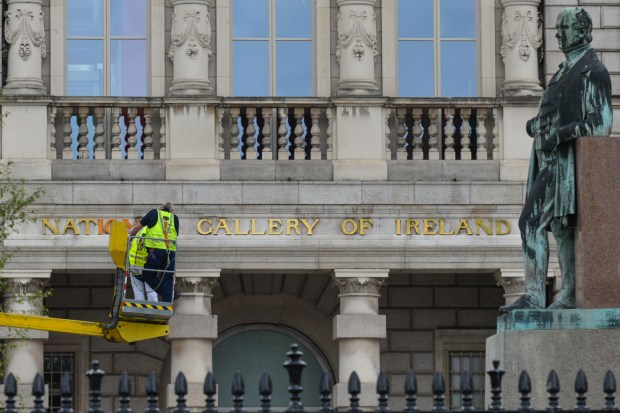 May 23, 2017 - Dublin, Ireland - The National Gallery Of Ireland signs are getting painted, in Dublin's city center..On Wednesday, May 24, 2017, in Dublin, Ireland. (Credit Image: © Artur Widak/NurPhoto via ZUMA Press)