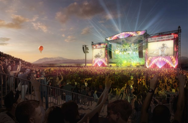 Live Nation Entertainment announced that FivePoint Amphitheatre in Irvine will offcially open on Saturday, Aug. 26. The 12,000-seat outdoor venue will replace Irvine Meadows Amphitheatre, which closed at the end of October, on a private land adjacent to the Orange County Great Park. (Image courtesy of Live Nation)